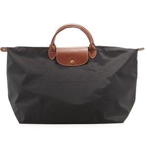 Longchamp Black Le Pliage Large Travel Bag